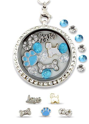 Infinity Love Shih Tzu Dog Floating Charm Living Memory Locket Magnetic Closure 30mm Stainless Steel Pendant Necklace with Black and White Crystal Charms (Shih Tzu Bone)