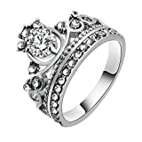 MoAndy Jewelry Women Rings 18K Silver Plated Princess Crown Rings Cubic Zirconia Tiara CZ Band Ring