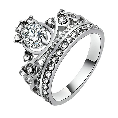 MoAndy Silver Rhinestone Queen Crown Ring Princess Tiara Crown Rings For Women