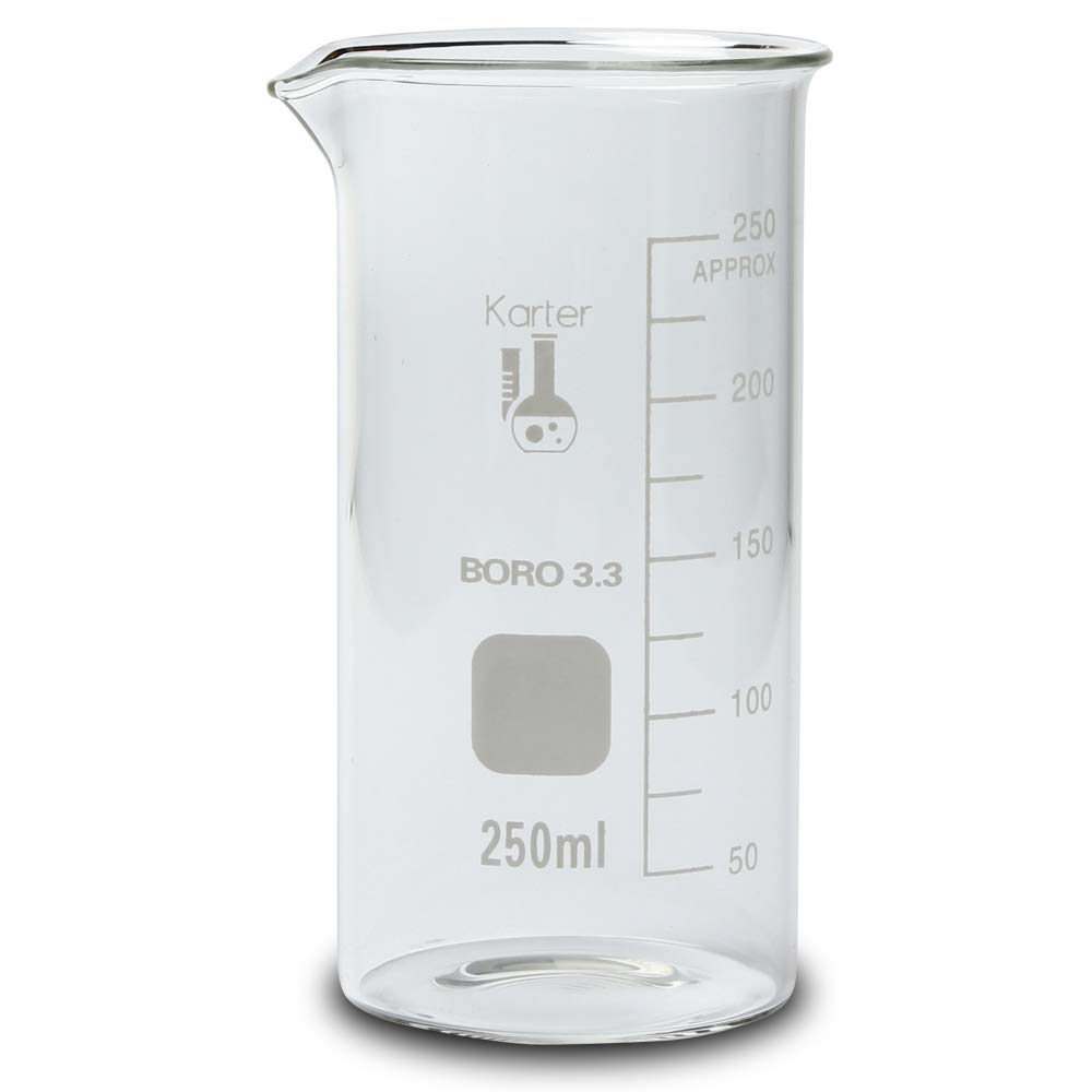 213F8 Karter Scientific 250ml Glass Tall Form Griffin Beaker (Pack of 12)
