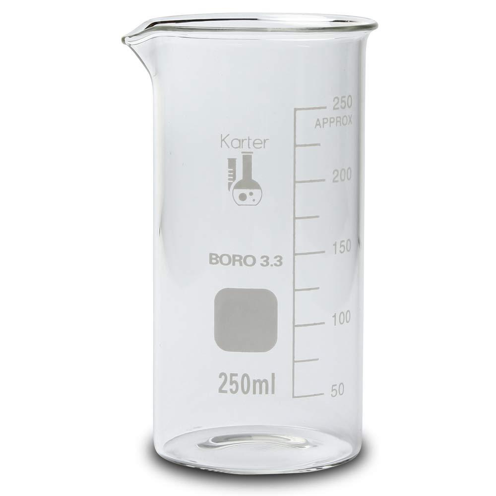 213F13 Karter Scientific 250ml Glass Tall Form Griffin Beaker