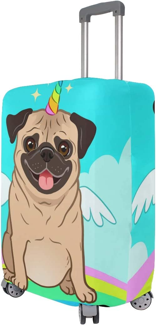 FOLPPLY Funny Pug Unicorn Rainbow Luggage Cover Baggage Suitcase Travel Protector Fit for 18-32 Inch