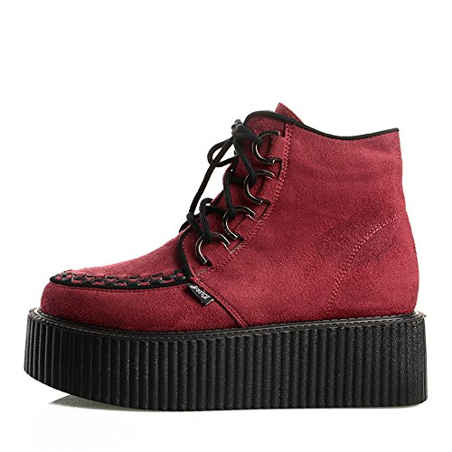 Gothique Chaussures Roseg Bottes Forme Creepers Punk Femmes Lacets Rouge Plate SIqF6w7I