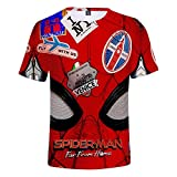 Trikahan Spiderman Far from Home Funny Pattern 3D Print Short Sleeve t Shirt for Men and Women M