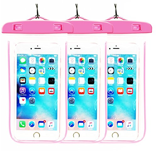 3Pack Pink Waterproof Case, CaseHQ Clear Universal Waterproof Case, Dry Bag, Pouch, Transparent Snowproof Dirtproof for iPhone 6 6S Plus SE 5S 5C, Samsung Galaxy S7 S6 edge, Note 5 4 3 2