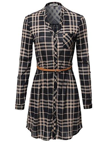 Stitch Leather Dress Belt (Plaid Button Up Shirt Dress With Detachable Faux Leather Belt Black Beige Size)