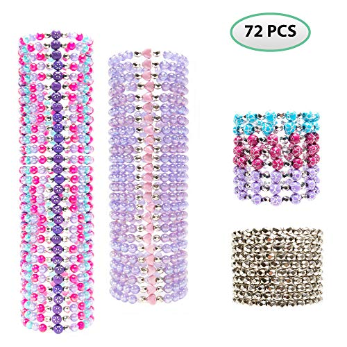 72 Pieces Party Favors Stretch Bracelets for Kids, Girls - Assorted Colorful Plastic Beaded Bracelet Set for Tween and Children - Great as Stocking Stuffers, Valentine's Day, Giveaways, Gifts for Birthdays