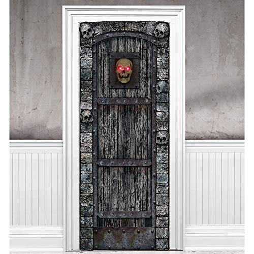 (Light-Up Skull Door Cover Halloween Decoration and Prop, 29