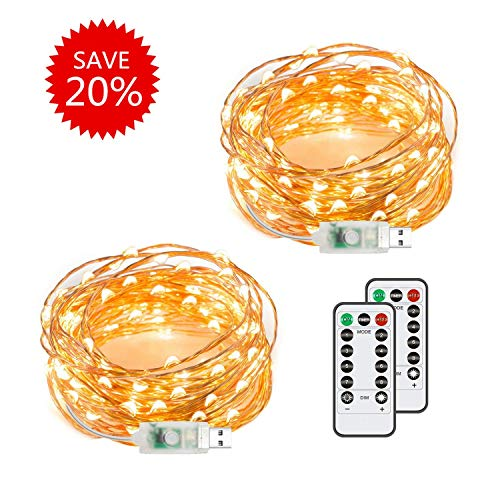 - 2 Pack 50 LED 16.4Ft Fairy String Lights, Warm White Firefly USB Plug-in Starry Lights with Remote, Waterproof Copper Wire Decorative String Lights for Valentine's Day, Bedroom, Home & Yard