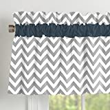 Carousel Designs Navy and Gray Elephants Window Valance Rod Pocket