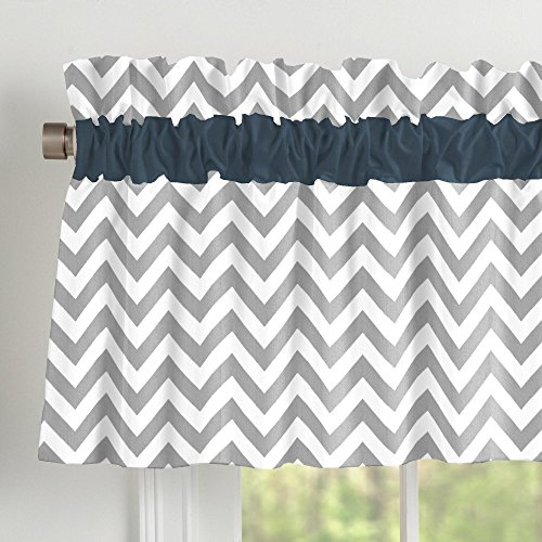 Carousel Designs Navy and Gray Elephants Window Valance Rod Pocket by Carousel Designs