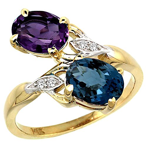 (10K Yellow Gold Amethyst & London Blue Topaz 2-stone Mother's Ring Oval 8x6mm Diamond Accents, 3/4 inch wide, size 7.5)