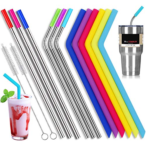 6 Stainless Steel Straws and 6 Silicone Straws with 2 Cleaning Brushes, Reusable Silicone and Metal Drinking Straws for 20oz 30oz Stainless Tumbler Yeti Rambler Rtic Ozark Trail Complete Bundle by M MOZACI