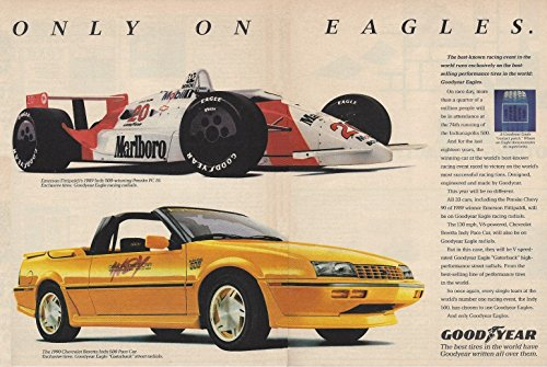 *PRINT AD* 1990 GOODYEAR EAGLE TIRES with PENSKE PC-18/FITTIPALDI INDY Winner & CHEVROLET BERETTA INDY 500 PACE CAR VINTAGE COLOR AD DOUBLE PAGE - USA - GREAT ORIGINAL - Indy Of 500 Winners