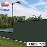 Windscreen4less 10' x 50' Solid Green Fence Privacy Screen Commercial-grade Solid Vinyl 100% privacy Blockage (440GSM) -3 year limited warranty