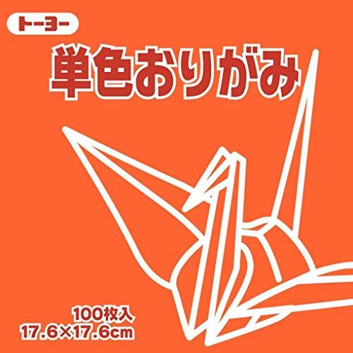 [해외]ト?ヨ? 종이 접기 단면 종이 접기 단색 17.6 cm 각 주황 100 매입 065104 / Toyo Origami Single Side Origami Monochrome 17.6cm Square 100 pcs 065104