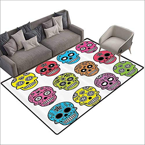 Kitchen Room Floor Mat Rug Colorful Skulls Decorations Collection,Ornate Colorful Traditional Mexian Halloween Skull Icons Dead Humor Folk Art Print,Multi 36