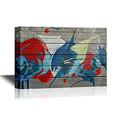 Canvas Wall Art - Abstract Graffiti on Wood Panel Background - Gallery Wrap Modern Home Art | Ready to Hang - 12x18 inches