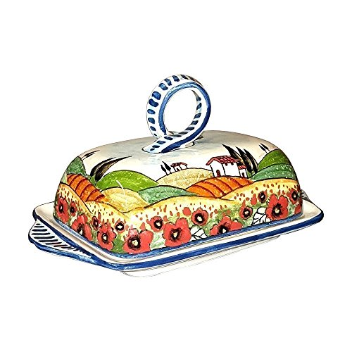 - CERAMICHE D'ARTE PARRINI- Italian Ceramic Butter Dish Hand Painted Decorated Poppies Landscape Made in ITALY Tuscan Art Pottery