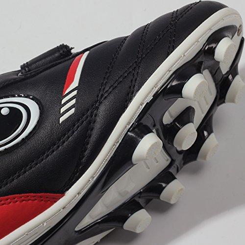 Optimum Tribal Moulded Stud, Botas de Fútbol para Niños Negro/ Rojo