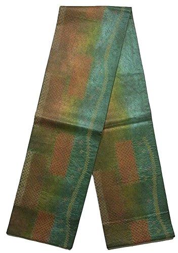 タヒチ敬な沼地袋帯 紬  絞り染め 石畳模様