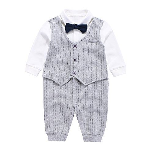 Mornyray Baby Boy Formal Jumpsuit Cotton One Piece Shirt with Bow Tie Size 59 (Gray Stripe)]()