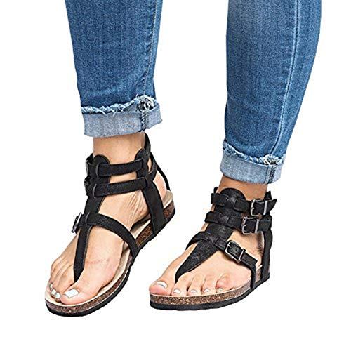 Huiyuzhi Womens Flat Gladiator Sandals Ankle Wrap Strappy Buckle Thong Flip Flops Sandal
