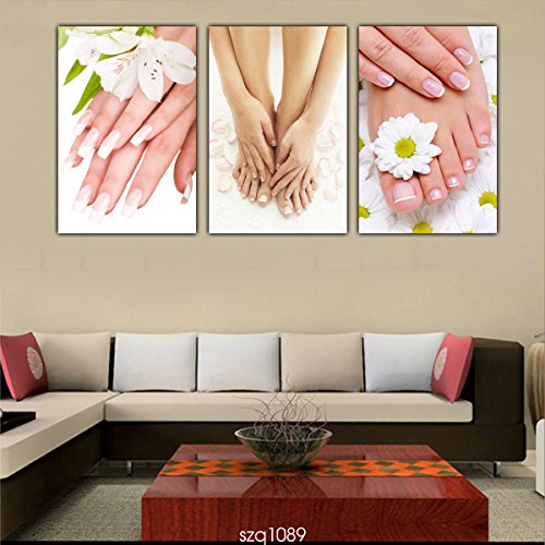 HD Canvas Print Picture Painting Spa Nail Foot Massage Salon 3pcs Wall...