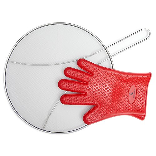 Grease Splatter Guard for Frying Pan - 13 + Heat Resistance Silicone Cooking Glove. High Density Stainless Steel Mesh. Perfect Splatter Guard for Cooking. Iron Skillet Lid. Protects your Kitchen