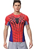 Red Plume Men's Compression Sports Fitness Shirt Armor , Men Spider T-shirt (XL)