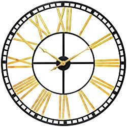 Infinity Instruments The Tower XXL Gold Decorative 39 inch Wall Clock Oversized Extra Large Wall Clock Vintage Retro look Roman Numerals Open Face Gold & Black Face huge clock