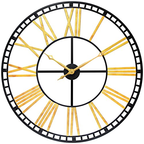 Infinity Instruments 15516BG-KD Oversized All Metal Wall Clock, Black/Gold