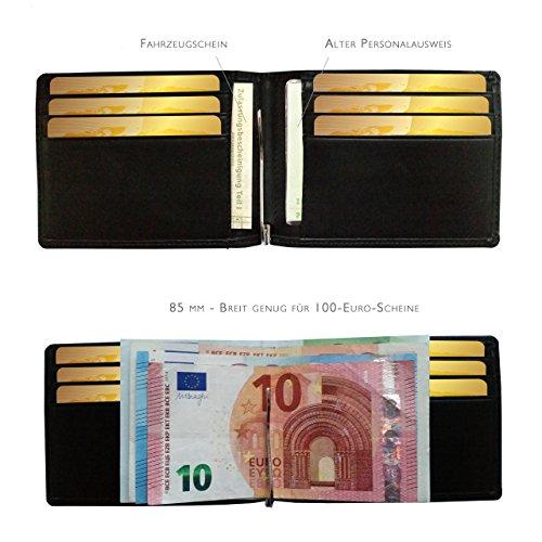 FreeHaveFun RFID Schutz Echtleder Damen Herren Geldklammer Kreditkartenetui | NFC Slim Wallet Geldbörse | dünne Brieftasche | Portemonnaie | Blocker Geldbeutel | Kartenetui