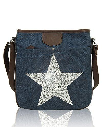 Redfox Star Canvas Sparkling Bag Vintage Shoulder Women's Big Messenger Navy Rhinestones Slim rqwtxvr5X7