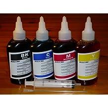 by double2house, Non-OEM, (4 x 100ml) Bulk refill dye ink for Epson refillable cartridge WorkForce WF-2520 WF-2530 WF-2540 WF-3520 WF-3540 WF-7510 WF-7520 WF-7010 NX530 XP-200 XP-300 XP-310 XP-400 by OPT
