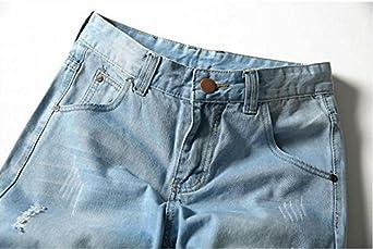 HZCX FASHION Mens Summer Light Weight Blue Short Jeans Slim Brush Denim Shorts
