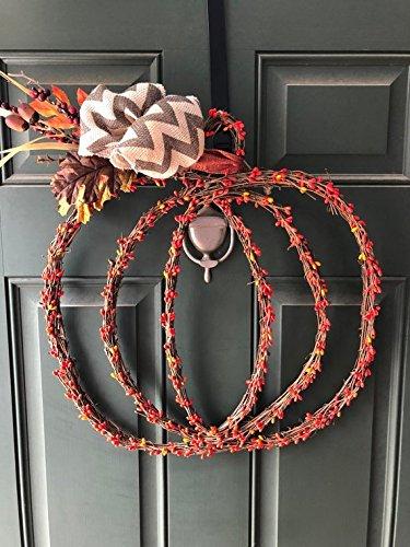Pumpkin Pip Berry Fall Thanksgiving Chevron Wreath 20