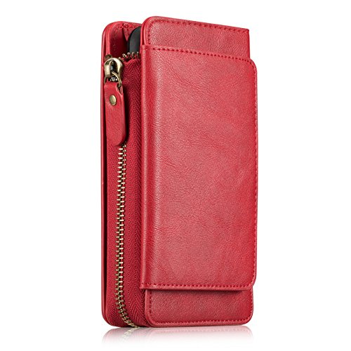 """iPhone Xs MAX Wallet Case for Women, Miya PU Leather Smart Wallet Phone with Card Slots Wristlet Zipper Pocket Protective Cover with Detachable Magnetic Phone Case for 6.5"""" iPhone Xs MAX 2018 - Red"""