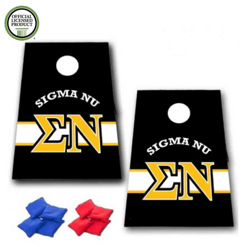 VictoryStore Cornhole Games - Sigma Nu Cornhole Bag Toss Game - Horizontal Stripe - 8 Bags Included by VictoryStore