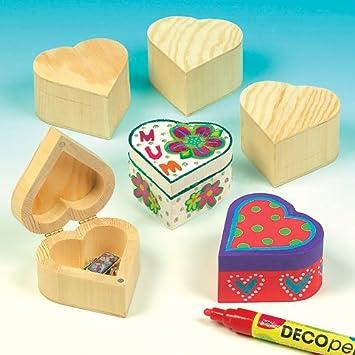 Baker Ross Cajas de Madera para Recuerdos con Forma de Corazón para Decorar (Paquete de 4) Manualidades infantiles: Amazon.es: Juguetes y juegos