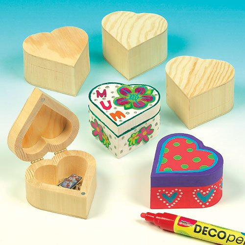 Wooden Heart Boxes for Kids to Paint & Decorate for Valentines (Pack of 4)