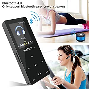 Bluetooth MP3 Player,Mahdi 8GB Lossless Music Player MP3 with FM Radio for Running,1.8 Inch TFT Screen,Metal Body Touch Screen,Maximum Support 128GB Micro SD Card