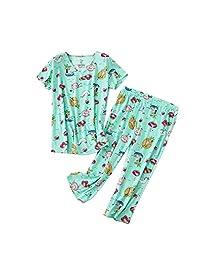 Rojeam Women's Casual Pajama Set Tank Top with Shorts Short Sleeve Shirts with Capri Pants