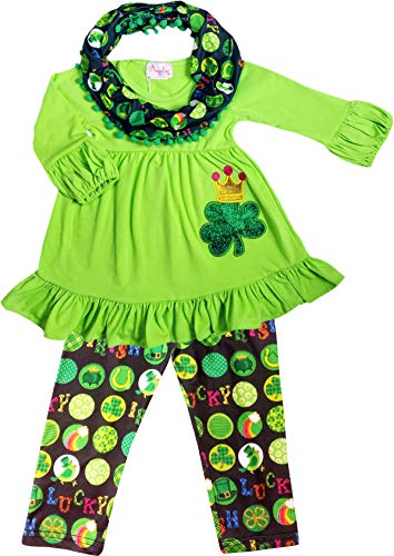 Baby Toddler Little Girls St. Patrick's Day Luck of Irish Outfit Set - Tunic Leggings Scarf - 2019 Boutique Designs