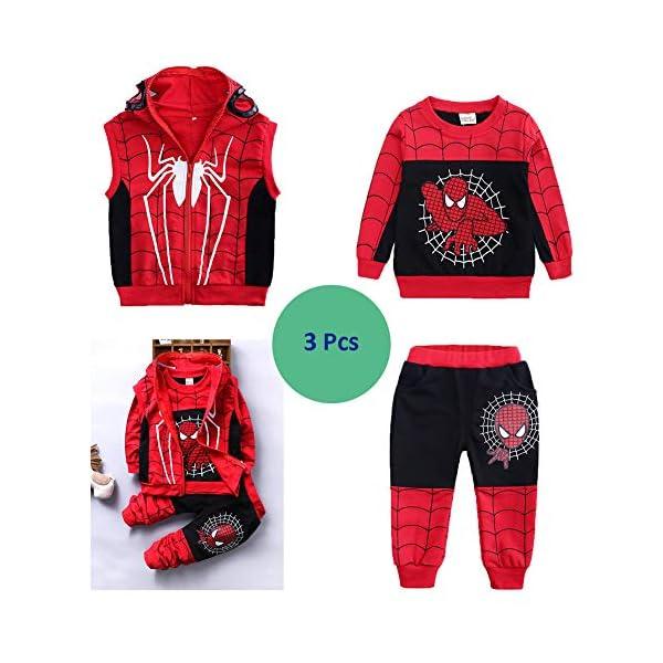 Set di Abbigliamento Bambini Completino Spiderman Maniche Lunghe Tute Ragazze Felpa con Cappuccio Camicie e Pantaloni… 3