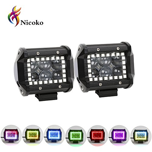 Color Light Flashing - Nicoko 18w 4Inch Cree Led Work Light bar with Multi-color Chasing RGB Halo 10 Solid colors Over 72 Flashing Modes Offroad Pods Lights LED Driving Lamp Fog Lights for Truck Jeep 1 Year Warranty Pack 2
