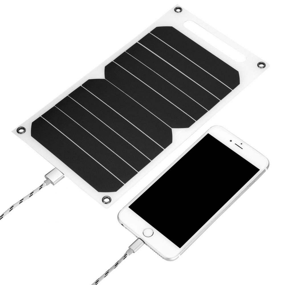 Richer-R Solar Charger, IP62 Waterproof Portable 10W Outdoor USB Solar Panel Mobile Power Charger 5V USB Output High Efficiency