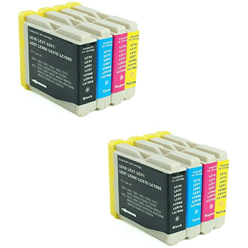 HOTCOLOR 8 Pack for Brother LC-51 LC-10 LC-37 LC-57 LC-960 LC-970 LC-1000 Compatible Ink Cartridge High Yield High Capacity High Utilization Rate (2 Black 2 Cyan 2 Magenta 2 (10 Brother Ink)