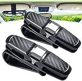 Sun Visor Clip, 2 Packs Sunglasses Holder for Car Sun Visor, Car Sunglasses Clip, Glasses Hanger Mount with Card Clip (Silver) - GGR