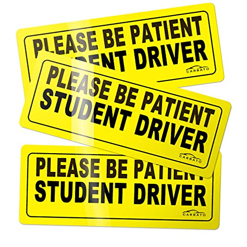 (CARBATO Student Driver Magnet Safety Sign Vehicle Bumper Magnet - Car Vehicle Reflective Sign Sticker Bumper for New Drivers - Set of 3)